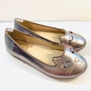 Gap Girls Metallic Cat Ballet Flats Size 12